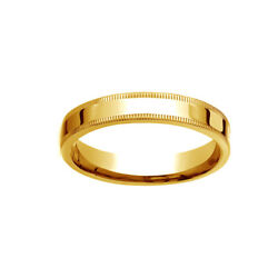 18k Yellow Gold 4mm Flat Comfort-fit Wedding Band Ring With Milgrain Size 7