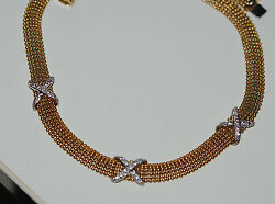 European 18kt Italian Gold Mesh Necklace Signed 17 3/4 Inch Signed Ronco