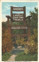 Gargner Ma Largest Chair In The World P. Derby And Co. Postcard 1928