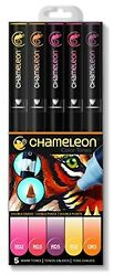 Chameleon Art Products 5-Pen Warm Tones Chameleon 5 Set -NEW!!