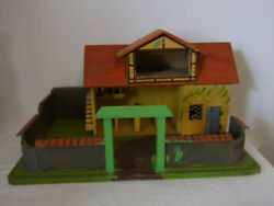 Antique German Hand Made Wood Toy Horse Stall Barn