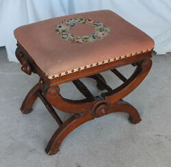 Antique Victorian Walnut Adjustable Stool Piano Taboret Chair – 1871