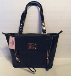 Juicy Couture Designer Handbag Purse Bag - ZELDA TOTE BLACK Faux Leather 🌟NEW🌟