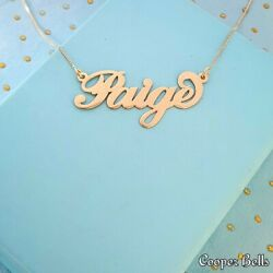 Gold Personalized Name Necklace Carrie Style - 14k Solid Gold Any Name Necklace