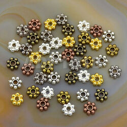 Silver Gold Daisy Flower Snowflake Shaped Spacer Beads Jewelry Making Diy