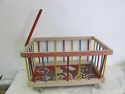 Vintage Wooden Toy Box Wagon With Handle On Wheels