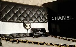 MINT CLASSIC CHANEL Black Quilted Lambskin 24K Gold Chain 10