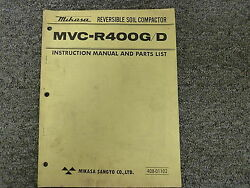 Mikasa Mvcr400g And Mvcr400d Compactor Parts Catalog And Owner Operator Manual