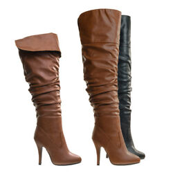 Focus33 High heel Stretch Wrinkled Slouchy Dress Boots. Over The Knee Thigh High $39.99