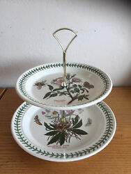 Portmeirion 2-tier Serving Tray Christmas Rose And Dog Rose 8 1/2 And 10 1/2