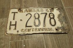 Rustic Rusty Th 2878 Kan 61 Kansas 1961 Centennial License Plate One Only