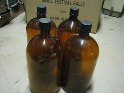 4 Pcs Vintage Used Empty Brown Bottle More Than One Gallon Tall Medicine Bottles
