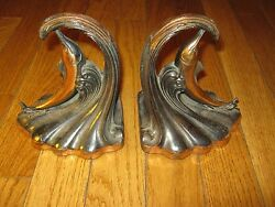 Rare Antique Vintage Old Bronze Over Cast Metal Dolphin Book Ends Fishing Decor