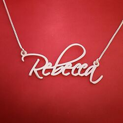 Signature Name Necklace Silver Name Necklace Mynamenecklace Any Name Rebecca