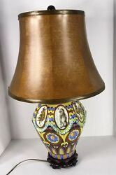 Early Spanish Mission Sgraffito Italy Etched Majolica Table Lamp
