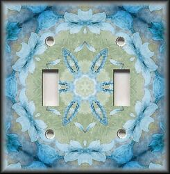 Metal Light Switch Plate Cover - Boho Home Decor Floral Medallion Blue Green