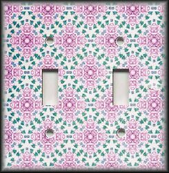 Metal Light Switch Plate Cover - Boho Decor Vintage Floral Medallions 05