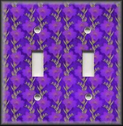 Metal Light Switch Plate Cover Floral - Dark Purple Flowers Floral Home Decor