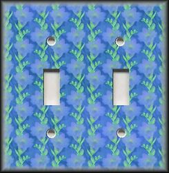 Metal Light Switch Plate Cover - Floral - Blue Flowers - Floral Home Decor