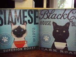 2 CATS COFFEE WALL ART CANVAS PLAQUES BLACK CAT SIAMESE SUIT HOME KITCHEN CAFE