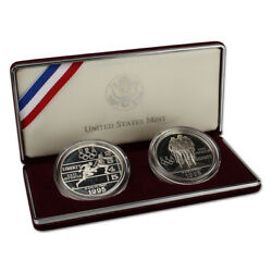 1995 Us Olympic - Track And Field/cycling 2-coin Commemorative Proof Set