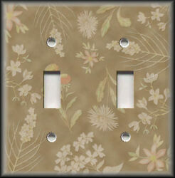 Metal Light Switch Plate Cover - Tan Floral Home Decor Flowers Decor Wallplate