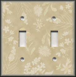 Metal Light Switch Plate Cover - Tan Cream Floral Home Decor Flowers Wallplate