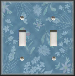 Metal Light Switch Plate Cover Wallplate - Blue Floral Home Decor Flowers Decor