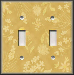 Metal Light Switch Plate Cover - Gold Yellow Floral Home Decor Flowers Wallplate