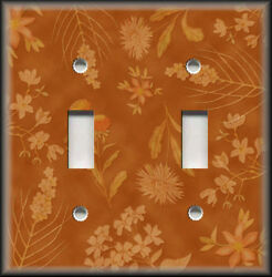 Metal Light Switch Plate Cover - Rust Orange Floral Home Decor Flowers Wallplate