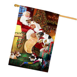 Rat Terrier Dog and Puppies Sleeping with Santa House Flag
