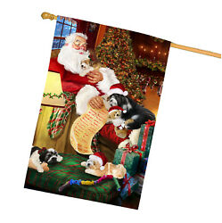 Tibetan Terrier Dog and Puppies Sleeping with Santa House Flag
