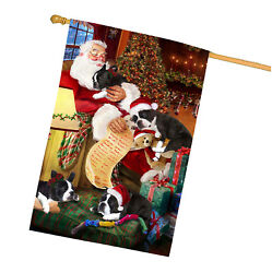 Boston Terrier Dog and Puppies Sleeping with Santa House Flag