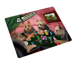 Home of Australian Terrier Dogs Playing Poker Woven Throw Sherpa Blanket NWT