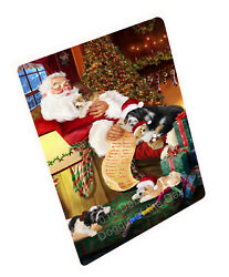 Tibetan Terrier Dog Sleeping with Santa Woven Throw Sherpa Fleece Blanket NWT