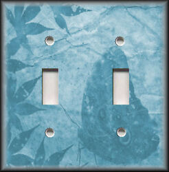 Metal Light Switch Plate Cover - Leaves Butterfly Silhouette Decor Blue