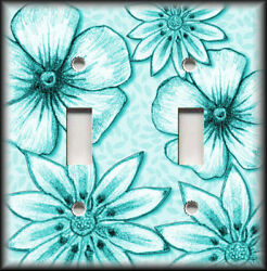 Metal Light Switch Plate Cover - Big Flowers Leaves Floral Decor Turquoise Blue