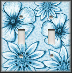 Metal Light Switch Plate Cover - Big Flowers Leaves Floral Decor Blue Wallplate