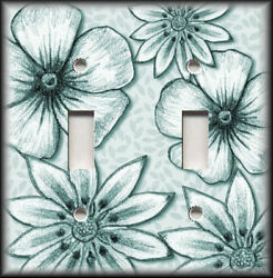 Metal Light Switch Plate Cover - Big Flowers Leaves Floral Decor Teal Wallplate