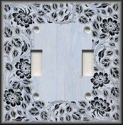 Metal Light Switch Plate Cover - Floral Framed Wood Design Blue Grey Wallplate