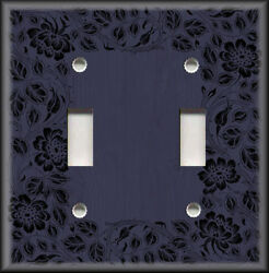 Metal Light Switch Plate Cover - Floral Framed Wood Design Navy Blue Wallplate