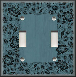 Metal Light Switch Plate Cover - Floral Framed Wood Design Teal Wallplate