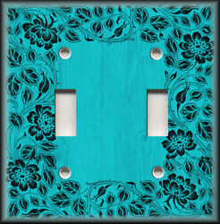 Metal Light Switch Plate Cover - Floral Framed Wood Design Turquoise Blue