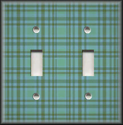 Metal Light Switch Plate Cover - Plaid Pattern Home Decor Teal Wallplate