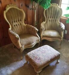 Antique Roseback Parlor Chairs Set And Stool Mint