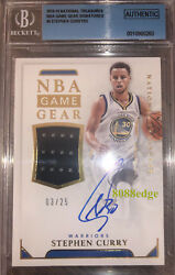 2015-16 National Treasures Game Gear Auto Stephen Curry 3/25 Autograph Swatch