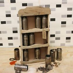 Namak Vintage Spice Rack Stand 12 Set Spice Herb Canisters Storage Kitchen Gift