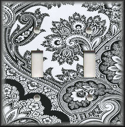 Metal Light Switch Plate Cover - Black And White Decor Floral Paisley Home Decor