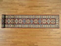 2and03910and039and039x19and03910and039and039 Hand-knotted Pure Wool Xl Red Super Kazak Runner Rug R37804