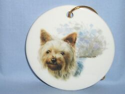 Yorkshire Terrier Dog Porcelain Christmas Tree Ornament Fired Head Decal-L